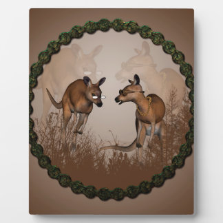 Best friends, cute kangaroos with sunglassees plaque