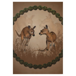 Best friends, cute kangaroos wood poster