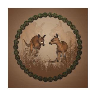 Best friends, cute kangaroos wood print