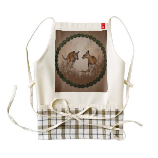 Best friends, cute kangaroos zazzle HEART apron