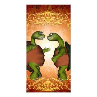 Best friends, cute turtles card