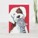 Best Friends - Cute Whimsical Tabby Cat & Dog Art Card