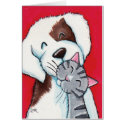 Best Friends - Cute Whimsical Tabby Cat & Dog Art Card