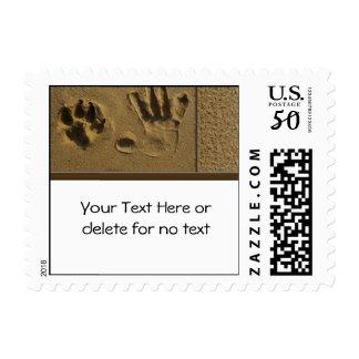 Best Friends Dog Paw and Hand Print Postage Stamp