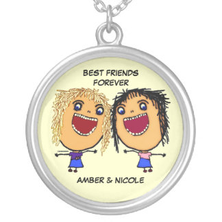 Best Friends For Life Cartoon Round Pendant Necklace