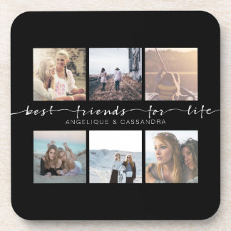 Best Friends for Life Typography Instagram Photo Drink Coaster