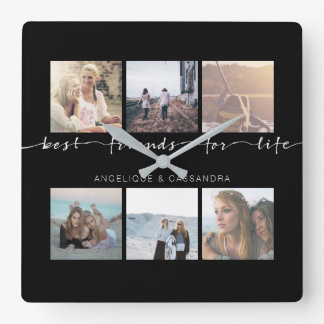 Best Friends for Life Typography Instagram Photos Square Wall Clock