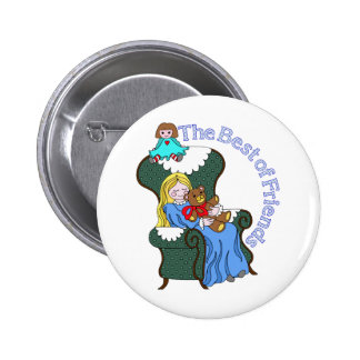 Best Friends for Little Girl Sitting in Chair Pinback Buttons