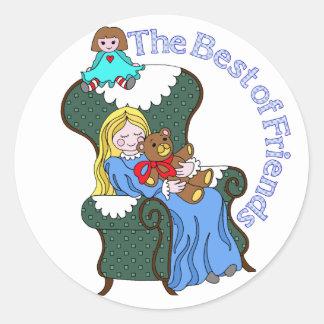 Best Friends for Little Girl Sitting in Chair Round Sticker