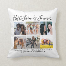 Best Friends Forever 6 Photo Collage Quote Script Throw Pillow