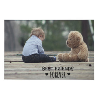 Best Friends Forever Baby and Teddy Bear Canvas