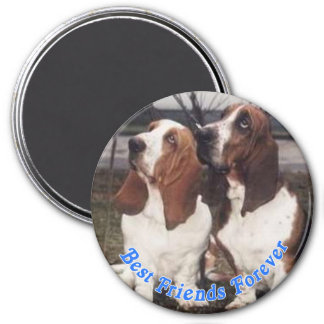 Best Friends Forever Bassetts 3 Inch Round Magnet