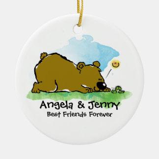 Best Friends Forever - Bear and Caterpilar Ceramic Ornament