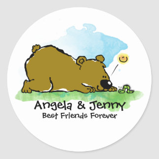 Best Friends Forever - Bear and Caterpilar Classic Round Sticker