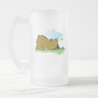 Best Friends Forever - Bear and Caterpilar Frosted Glass Beer Mug
