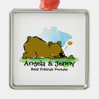 Best Friends Forever - Bear and Caterpilar Metal Ornament