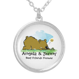 Best Friends Forever - Bear and Caterpilar Round Pendant Necklace
