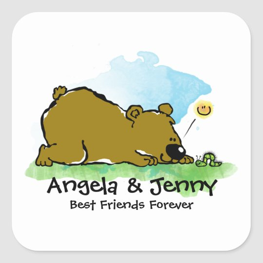 Best Friends Forever - Bear and Caterpilar Square Sticker