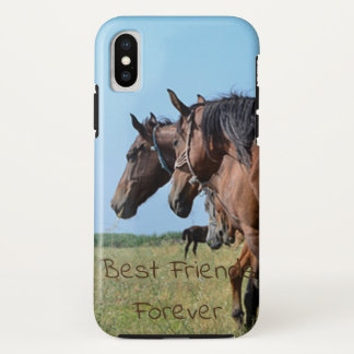 Best Friends Forever Beautiful Brown Horses iPhone X Case