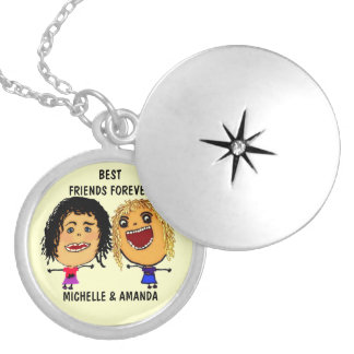 Best Friends Forever BFF Cartoon Personalized Necklace