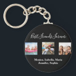 """Best friends forever BFF custom photo names black Keychain<br><div class=""""desc"""">A gift for your best friend(s) for birthdays,  Christmas or a special event. White text: Best Friends Forever,  written with a trendy hand lettered style script. Personalize and use your own photos and names.</div>"""
