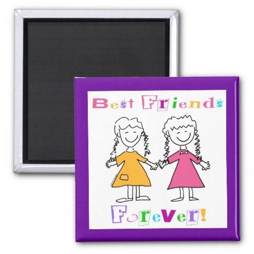 Best Friends Forever BFF Gifts 2 Inch Square Magnet