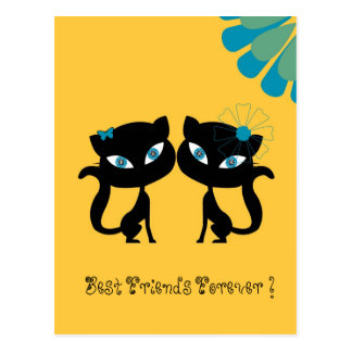 Best Friends Forever (BFF), I love Cats! Postcard