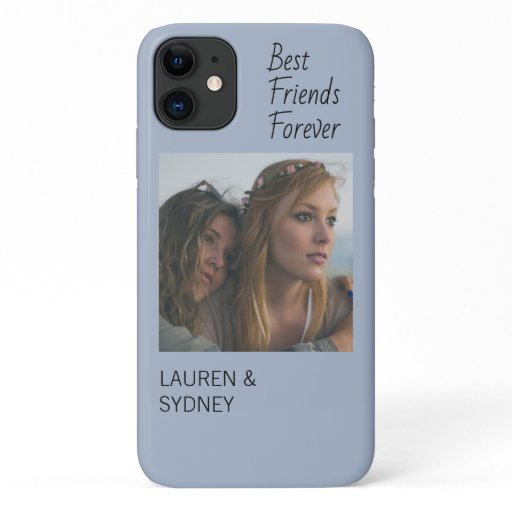 Best Friends Forever Blue Friendship Photo iPhone 11 Case