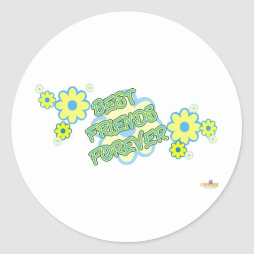 Best Friends Forever Blue Yellow Flowers Classic Round Sticker