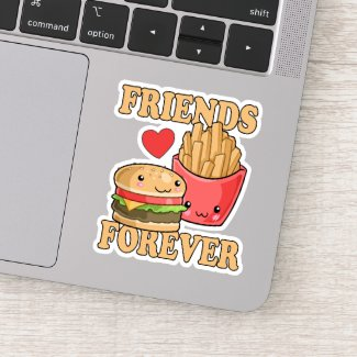 Best Friends Forever Burger And Fries Food Themed Sticker