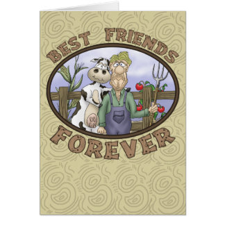 Best Friends Forever Card: Cow and Farmer