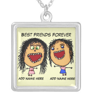 Best Friends Forever Cartoon Personalized Necklace