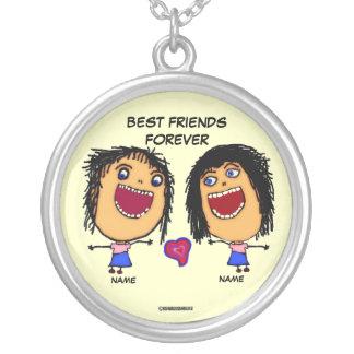 Best Friends Forever Cartoon Round Pendant Necklace