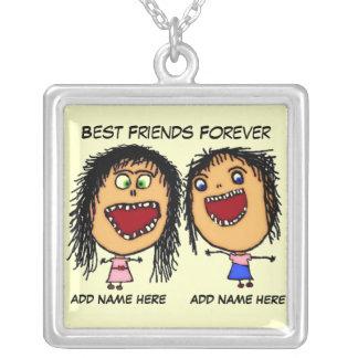 Best Friends Forever Cartoon Square Pendant Necklace