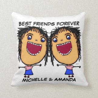 Best Friends Forever Cartoon Throw Pillow