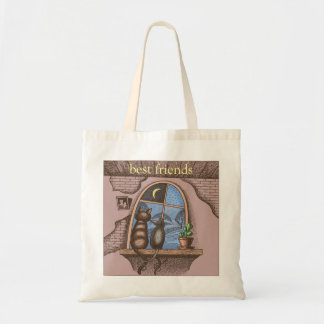 Best friends forever, cat and mouse, budget tote bag