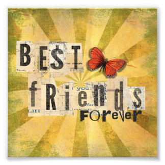 Best Friends Forever Collage Butterfly Photo Print