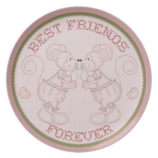 Best Friends Forever Country Stitched Mice Plate