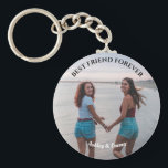 """Best Friends Forever Custom Photo and Name Keychain<br><div class=""""desc"""">Show your love to your best friend by this beautiful custom photo keychain. This print features your own favorite photo of you and your BFF. You can easily customize the photo,  quote and color of the keychain by  clicking 'Customize It' on the sidebar tab.</div>"""