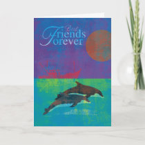 Best Friends Forever Dolphins in Sea Painting Card