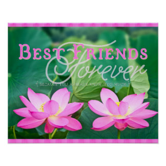 Best Friends Forever Gorgeous Pink Lotus Pair Poster