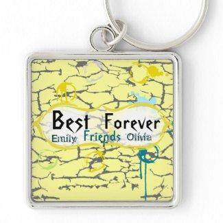 Best Friends Forever Grunge Paint Crack Splat Drip keychain