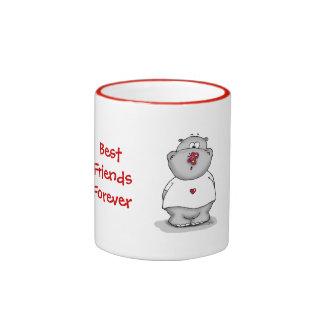 Best Friends Forever - Hippo with Butterfly Ringer Mug