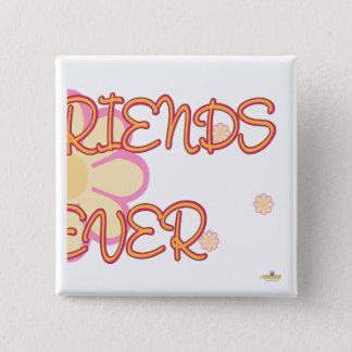 Best Friends Forever Orange Pink Flowers Part 2 Pinback Button