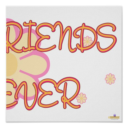 Best Friends Forever Orange Pink Flowers Part 2 Poster