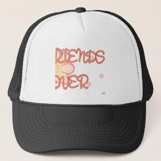 Best Friends Forever Orange Pink Flowers Part 2 Trucker Hat