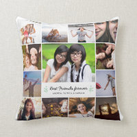 Best Friends Forever Photo Collage Bff Friendship Throw Pillow