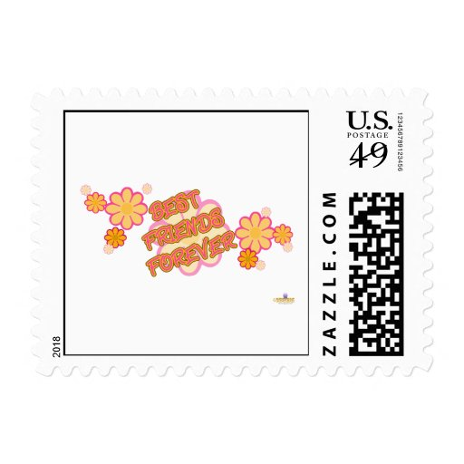 Best Friends Forever Pink Orange Flowers Stamps