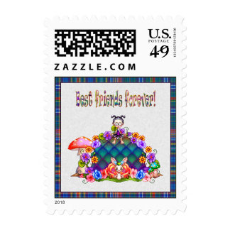 Best Friends Forever Pixel Art Postage Stamp
