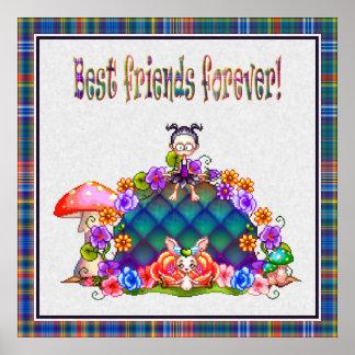 Best Friends Forever Pixel Art Poster